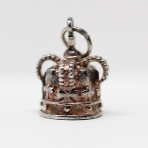 VINTAGE Sterling Silver 3D Crown Charm Pendant